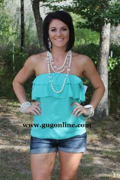 Ruffle Me Up Tube Top in Mint-NOW IN PLUS SIZE www.gugonline.com $19.95-$22.95