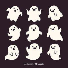 Halloween Cartoons, Halloween Ghosts, Halloween Crafts, Kawaii Doodles, Cute Doodles, Ghost Cartoon, Cute Cartoon, Griffonnages Kawaii, Halloween Gesicht
