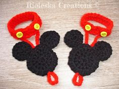 (4) Name: 'Crocheting : Mickey Mouse Barefoot Sandals