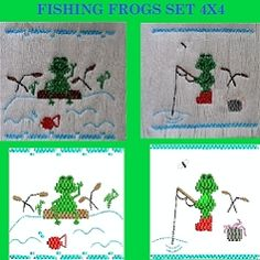 Smocking: Fishing Frogs Set - 4x4 | Smocking | Machine Embroidery Designs | SWAKembroidery.com