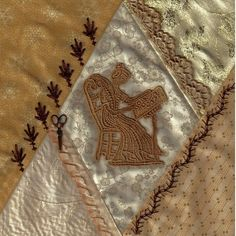 I ❤ crazy quilting & embroidery . . .  Champagne block #37 ~By Marci H