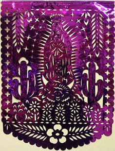 Magenta handcut papel picado mylar banner with the Virgin of Guadalupe and many flowers and cactuses