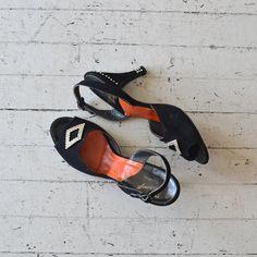Lady Luck slingback heels / rhinestone 1950s shoes / by DearGolden, $54.00