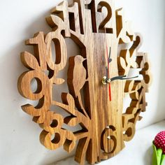 Wall Wooden Clock Handmade Clock Gift for him her Scroll Saw Eco Clock gift for husband birthday gift new home gift new home gift Scroll Saw Patterns Free, Scroll Pattern, Free Pattern, Wood Carving Patterns, Wood Patterns, Cross Patterns, Wooden Decor, Wooden Crafts, Woodworking Patterns