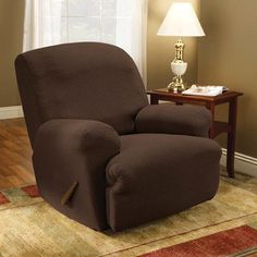 sure fit simple stretch subway recliner slipcover upholstery chocolate