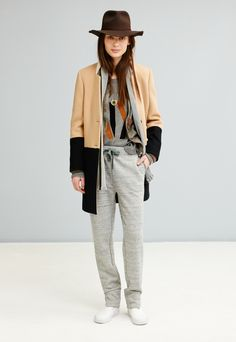 Madewell colorblock streetcar coat worn with suede NY pullover + Biltmore® & Madewell fedora.