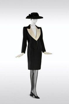 Yves Saint Laurent, Tuxedo with short skirt, haute couture collection, Spring-Summer 1982. Black-and-white barathea spencer and skirt. © Fondation Pierre Bergé-Yves Saint Laurent, Paris / Photo A. Guirkinger