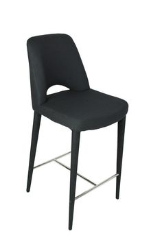 """Emelia"" Classic Padded Fabric Stool in Black – Simply Bar Stools"