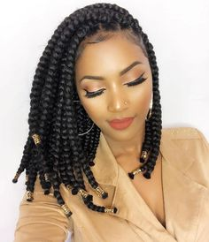 Crochet braids made a huge debut in 2015 and we're sure they are not going out of style anytime soon. Check out this list of chic Crochet Braids Hairstyles! Bob Box Braids Styles, Box Braids Styling, Curly Hair Styles, Braids Bob Style, Crochet Braids Hairstyles, African Braids Hairstyles, Girl Hairstyles, Protective Hairstyles, Hairstyles Pictures