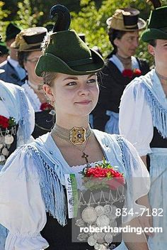 Girl in traditional Bavarian costume at Folklore Festival, Burghausen, Bavaria, Germany, Europe