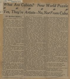 Armory Show Headline of the Day: from the Denver Republican, Mar. World Puzzle, New York Art, American Art, Denver, Scrapbook, History, Documentary, Wwii, Artists