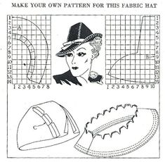 Make your own pattern for this fabric hat - 1937. ..♥..Nims..♥