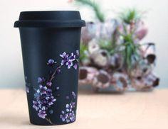 hand painted ceramic mug $65