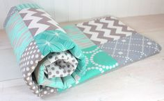 Baby Blanket, Unisex Blanket, Gender Neutral Blanket, Photography Prop, Teal Blue, Tiffany Blue, Mint Green, Turqouise and Gray Grey Chevron...
