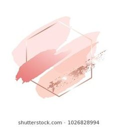 Brush strokes in gentle pink tones and rose gold hexagonal frame on a white background. Cute Wallpapers, Wallpaper Backgrounds, Iphone Wallpaper, Rose Gold Wallpaper, White Backgrounds, Fond Design, Hight Light, Pink Tone, Instagram Highlight Icons