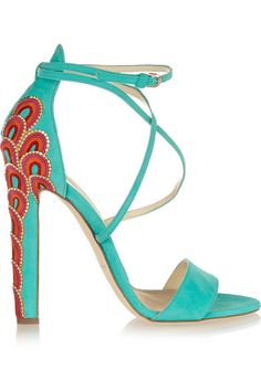 I will dream of these tonight :) Brian Atwood Sonya embellished suede sandals Ankle Strap Shoes, Strap Heels, Talons Oranges, Fila Shoes Womens, Embellished Heeled Sandals, Brian Atwood Shoes, Only Shoes, Strappy Sandals Heels, Fashion Heels