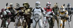 Star Wars clone troopers | Clone troopers in various forms of Phase II battle armor.