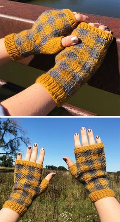 Free Knitting Pattern for Plaid Field Mitts - Fingerless mitts with buffalo plai. : Free Knitting Pattern for Plaid Field Mitts – Fingerless mitts with buffalo plaid pattern in stranded colorwork. Designed by Kristen McLaren. Knitted Mittens Pattern, Knit Mittens, Knitting Patterns Free, Free Knitting, Free Pattern, Fingerless Gloves Knitted, Crochet Gloves, Loom Knitting, Knitting Socks