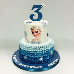 Two Layer Birthday Cake Ideas . Two Layer Birthday Cake Ideas Two Tier Ruffled Elsa Cake Childrens Birthday Cakes Celebration Send Birthday Cake, Homemade Birthday Cakes, Birthday Parties, Anna Frozen Cake, Pastel Frozen, Elsa Cakes, Disney Frozen Birthday, Cake Decorating With Fondant, Tiered Cakes