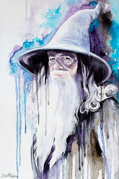 Original Watercolour Painting- Gandalf, The Hobbit, Celebrity Portraits, dragon, The Lord of the Rings,