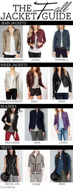 Jean Jackets- 7 For All Mankind   Guess   Madewell Biker Jackets- Rebecca Minkoff   Asos   Doma  Blazers- Rag & Bone   Zara   J.Crew  Vests- Rachel Zoe   J.Crew   Zara
