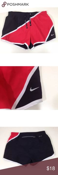 Womens Nike Dri-Fit Tempo Running Shorts XS Dri-Fit Material to dry out sweat, Elastic waist band with adjustable drawstrings for better fit, Inner lining for a more comfortable running experience. Back zip pocket. There is a tiny hole from tag near the waist. Nike Shorts