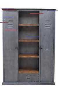 Industrie-stil inneneinrichtung Cabinet with 4 Wooden Shelves & 2 Side Lockers Bracelets Past and Pr Repurposed Lockers, Wooden Lockers, Vintage Lockers, Wooden Shelves, Repurposed Furniture, Entry Lockers, Locker Furniture, Cabinet Furniture, Cool Furniture