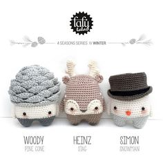winter amigurumis - pine cone, reindeer, and snowman by lalylala