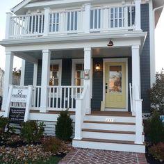 Greek Villa (white trim) + Sunbeam Yellow (door) + blue house (beige around windows) - Sherwin Wiliams