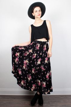 Vintage 90s Skirt Black Floral Print Tiered Gauze Skirt 1990s Skirt Soft Grunge Skirt Boho Midi Maxi Skirt Indian Skirt M Medium L Large by ShopTwitchVintage #1990s #90s #grunge #softgrunge #etsy #vintage #gauze #floral #skirt #midi #maxi #boho #hippie