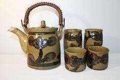 Japanese Pottery Tea Set, Ceramic 7 Piece Tea Service