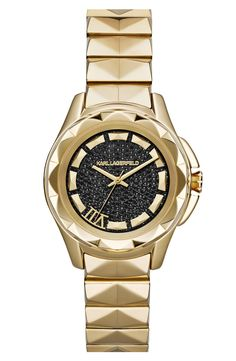 It's love at first sight with this Karl Largerfeld pavé dial faceted bezel bracelet watch.