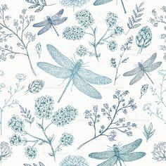 Dragonfly seamless pattern. Fern botanical background. Vector illustration royalty-free stock vector art