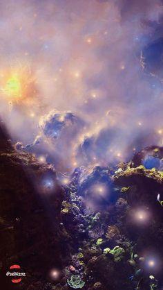 galaxy, sea, purple, fish, twinkle