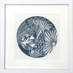 Parrot screen print in teal - framed and mounted