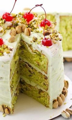 Pistachio Dream Layer Cake-Nutty, creamy layer cake with pistachios in both the cake as well as the buttercream frosting Pistachio Pudding Cake, Pistachio Dessert, Pistachio Recipes, Pistachio Cookies, Party Desserts, Christmas Desserts, Potluck Desserts, Cupcakes, Cupcake Cakes