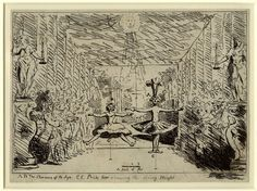 Theatre stage with two dancers; a woman (La Barbarina) jumping with her legs apart and a man (Philippe Desnoyer) with his legs together; on either side a chorus, or audience, and statues of Comedy and Tragedy holding candles. 1782  Etching, with additions in pen and ink