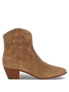 SAINT LAURENT Rock Suede Western Ankle Boots. #saintlaurent #shoes #boots