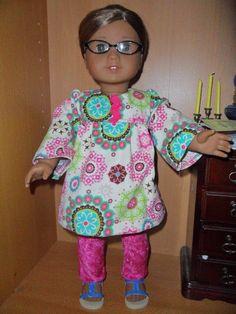 Smocked dress and leggings for American Girl Doll