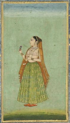 A PORTRAIT OF A LADY PROVINCIAL MUGHAL, INDIA, CIRCA 1780 Opaque pigments and gold on paper, depicting a lady in green skirt and orange veil, standing to the left and holding a pink flower, christies. Indian woman in traditional costume. Costume of India in art