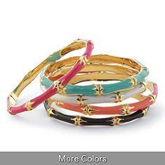 Bamboo Enamel Bangle Bracelets