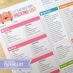 {Free Printable} Let's Go on a Trip! Packing List
