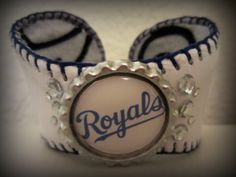 Kansas City Royals Baseball Cuff Bracelet by Cookiescuffs on Etsy, $28.00