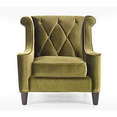 Generate a comfortable atmosphere in your home with this modern take on a retro chair. This green velvet fabric chair features a button-tufted back with a diamond pattern and espresso wood legs. Green Velvet Fabric, Green Velvet Sofa, Velvet Armchair, Velvet Chairs, Green Armchair, Fabric Armchairs, Chair Fabric, Ottomans, My Living Room