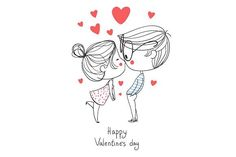 Drawing On Creativity Valentine's Day. Boy and girl kissin by NatalyS on Creative Market Couple Drawings, Love Drawings, Cartoon Drawings, Valentine Doodle, Valentines Day Drawing, Happy Valentines Day Pictures, Love Doodles, Valentines Illustration, Cartoons Love