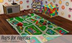 Rugs for rugrats: 4 x Isotopia recolours, 2 x IKEA Uldum recolours