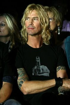 Duff McKagan with a middle finger t-shirt