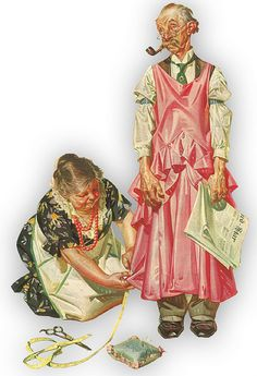 Man in a dress helping his wife!  Rockwell?