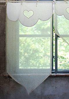 Rideau Brise Bise Shabby Chic et Romantique - Cœurs - 60x120 - Blanc / Lin - Mixte Coton / Polyester / Lin