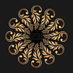 Vector floral del oro ornamento redondo para la impresi�n, bordado. photo